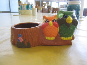 PAINTED OWLS CANDY DISH